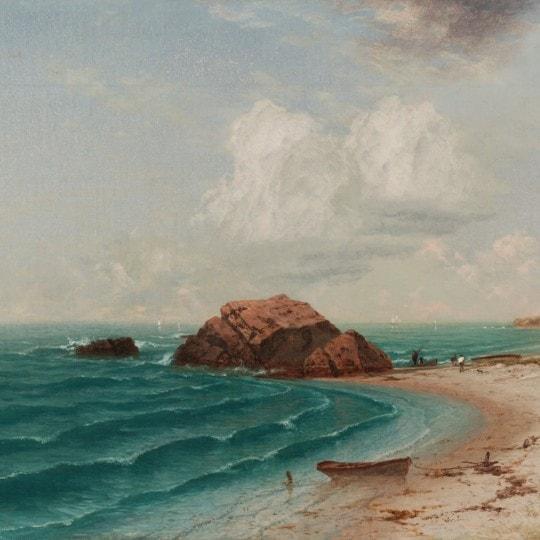 New England Coastal Scene with Figures