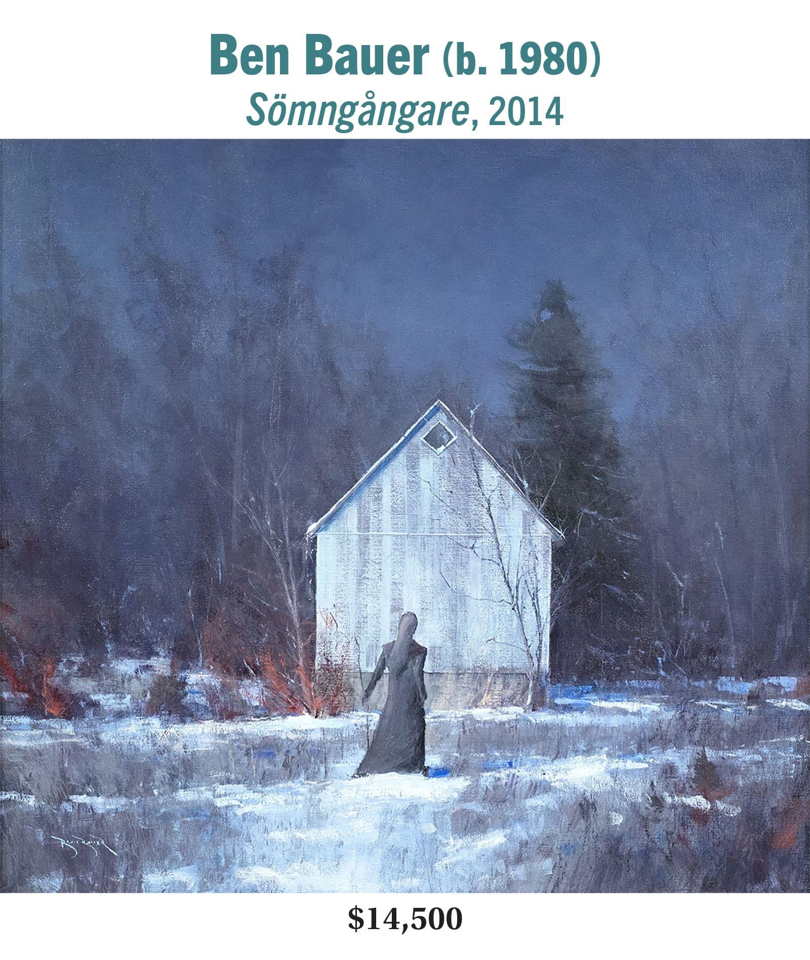 Ben Bauer (b. 1980), Sömngångare, 2014, oil on linen, American contemporary landscape painting