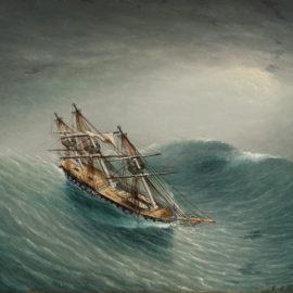 Schooner in a Stormy Sea
