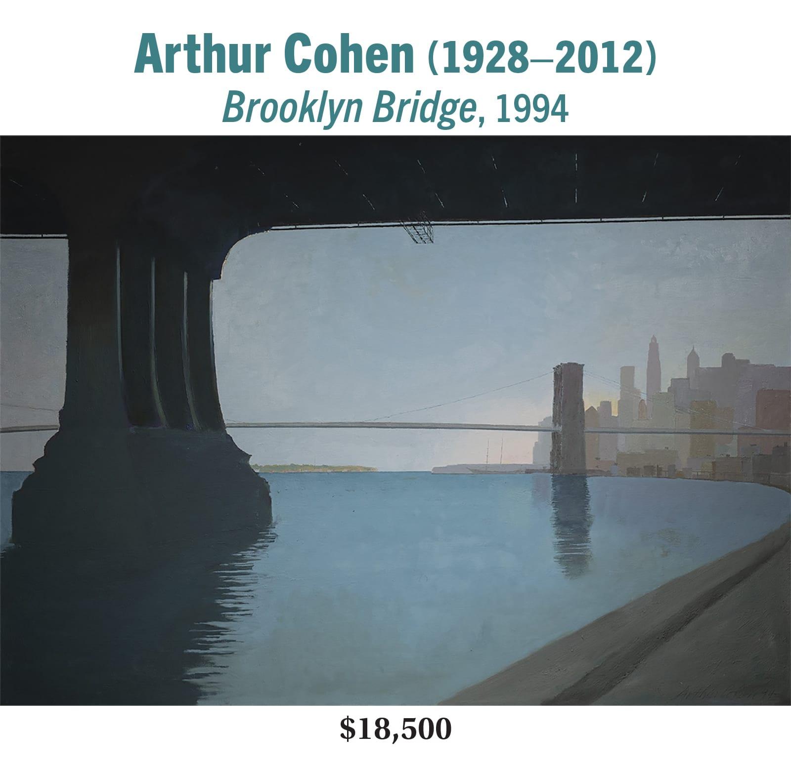 Arthur Cohen (1928–2012), Brooklyn Bridge, 1994, oil on canvas, American modernist cityscape painting