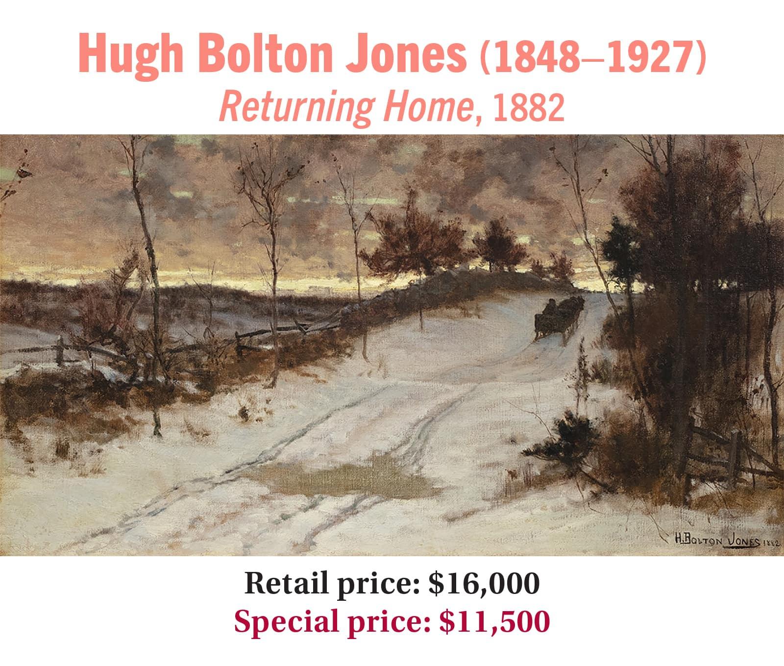 Hugh Bolton Jones (1848–1927), Returning Home, 1882, oil on canvas, American tonalist landscape painting