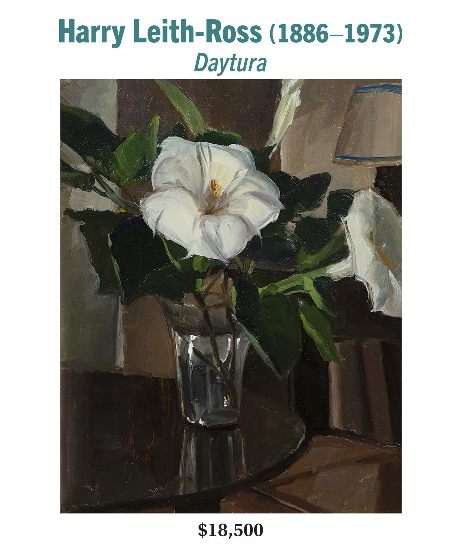 Harry Leith-Ross (1886–1973), Daytura, oil on board, American still-life painting