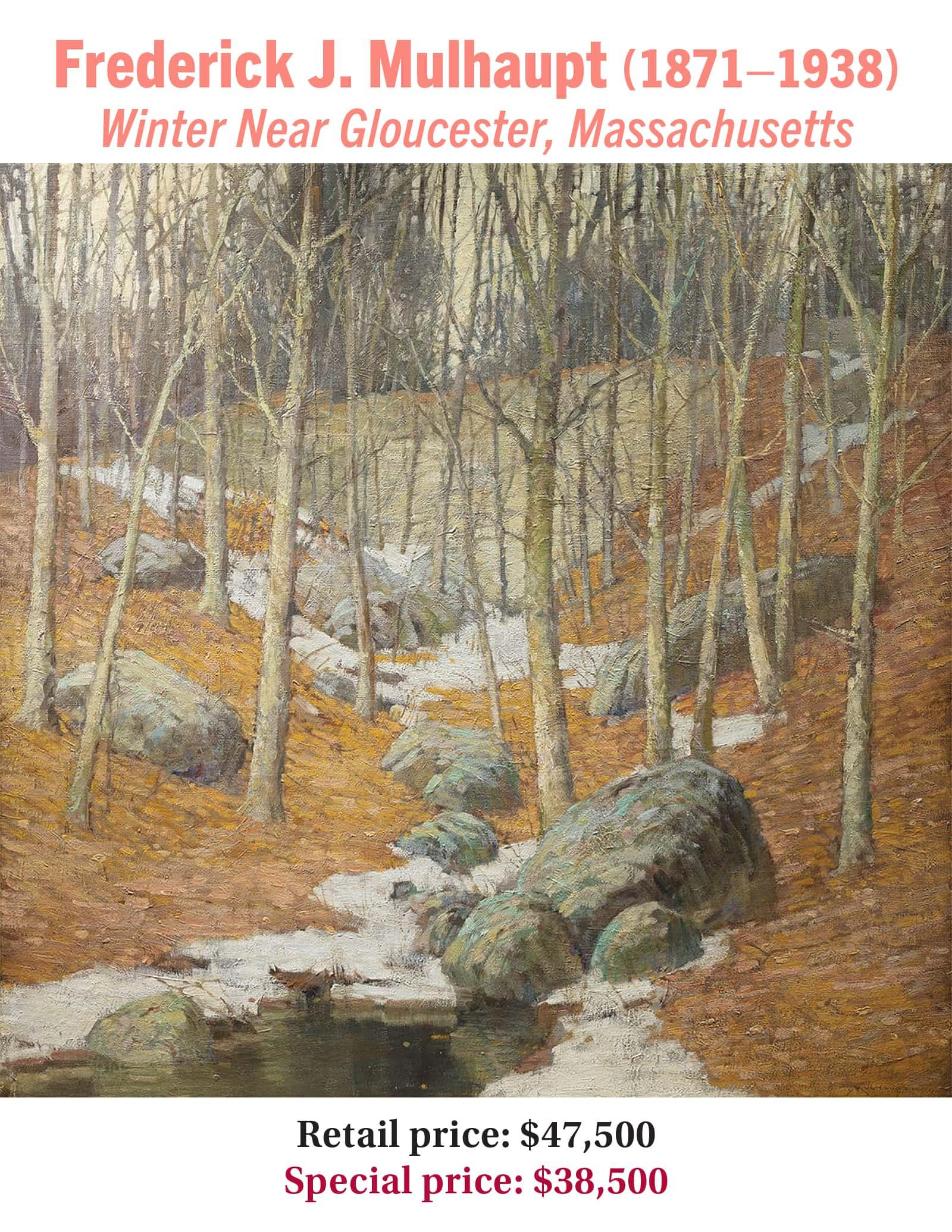 Frederick J. Mulhaupt (1871–1938), Winter Near Gloucester, Massachusetts, oil on canvas, American impressionist landscape painting