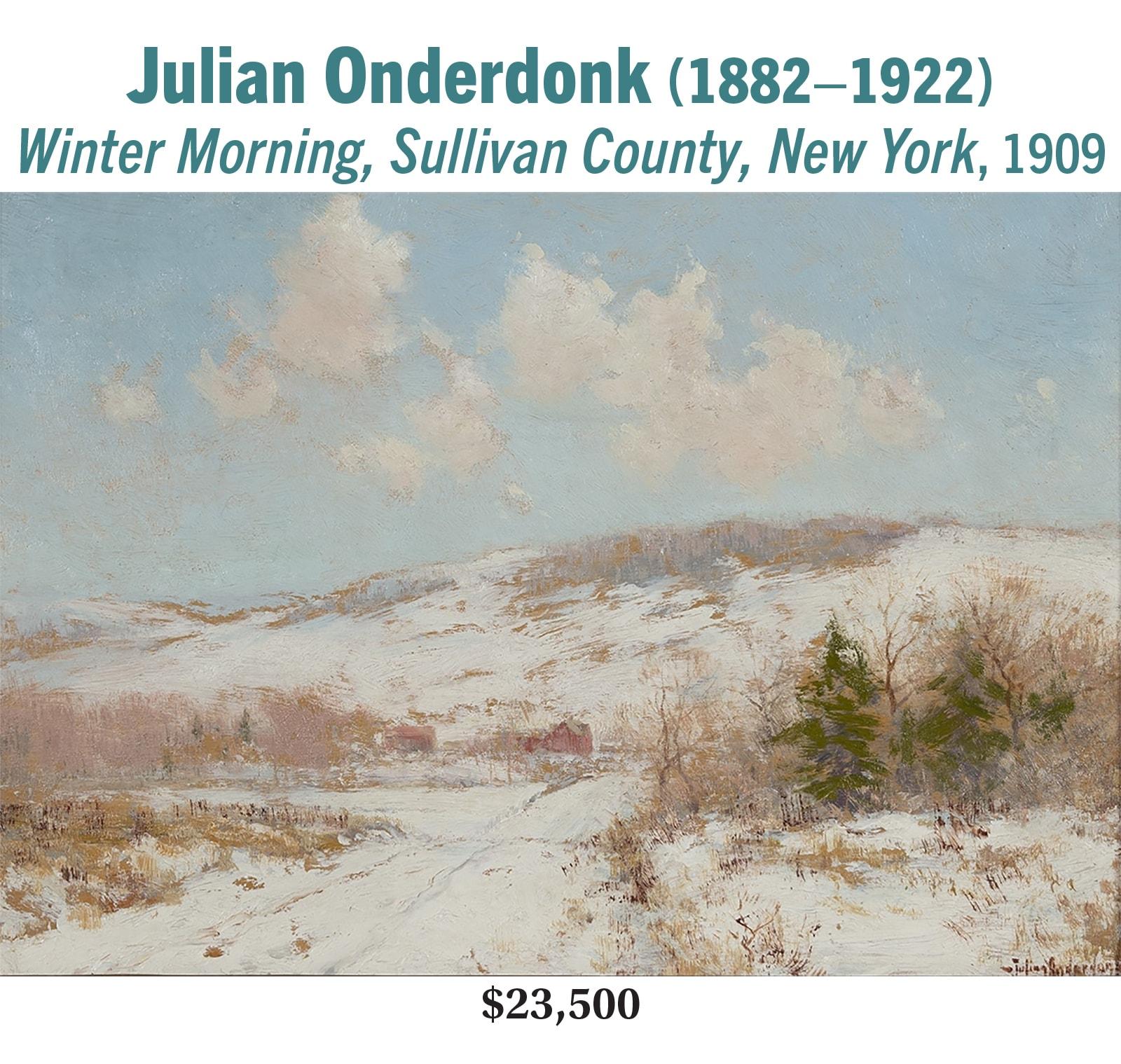 Julian Onderdonk (1882–1922), Winter Morning, Sullivan County, New York, 1909, oil on panel, American impressionist landscape painting