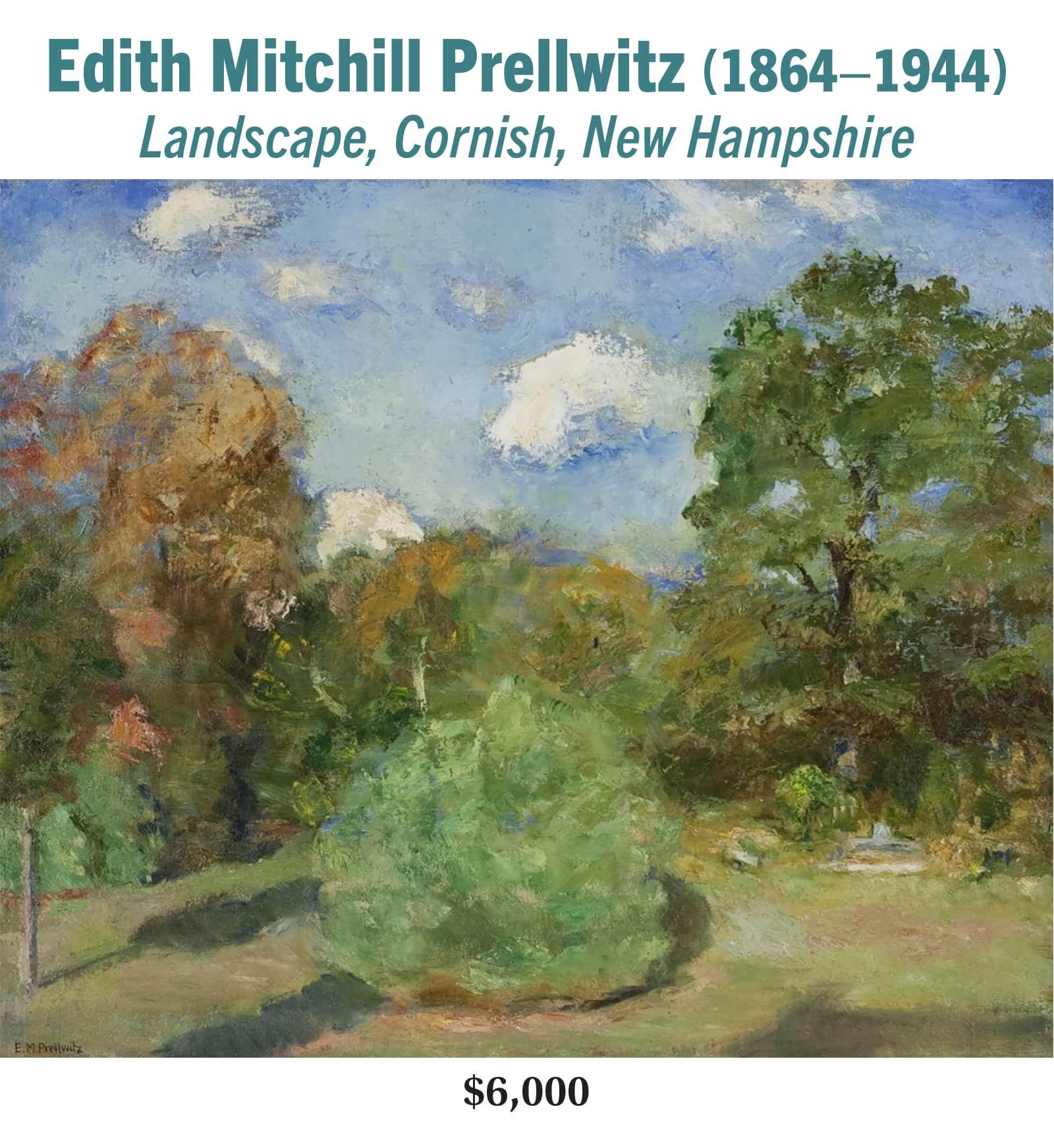 Edith Mitchill Prellwitz (1864–1944), Landscape, Cornish, New Hampshire, oil on canvas, American impressionist landscape painting