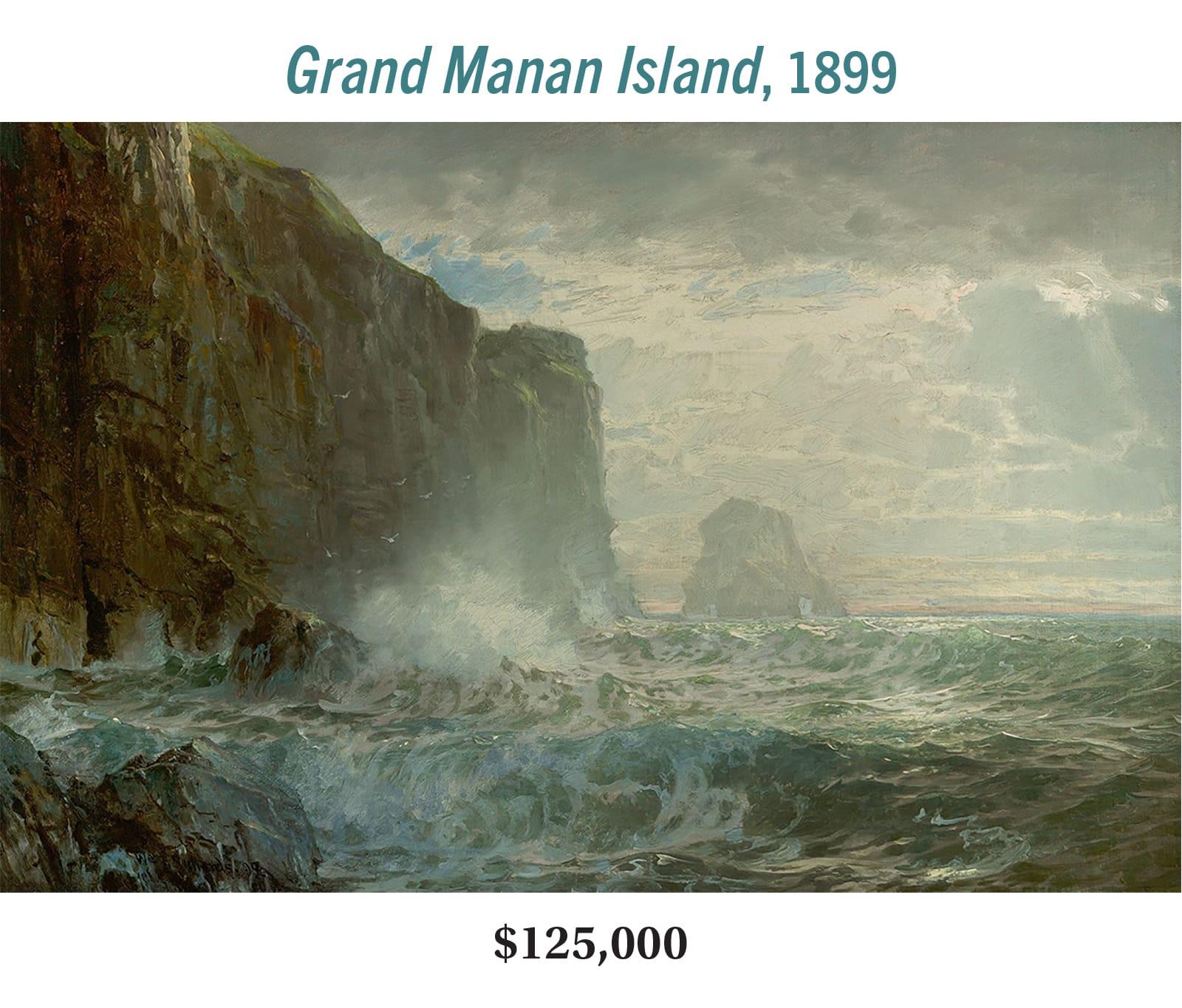 William Trost Richards (1833–1905), Grand Manan Island, 1899, oil on canvas, Hudson River School seascape painting