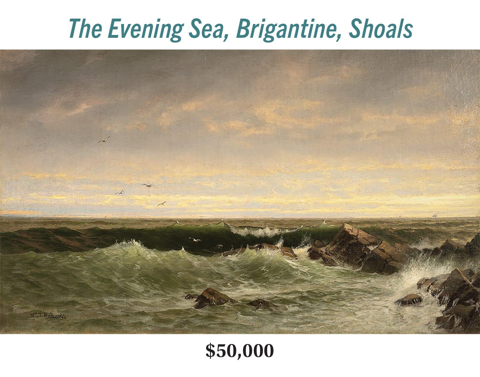 William Trost Richards (1833–1905), The Evening Sea, Brigantine, Shoals, oil on canvas, Hudson River School seascape painting