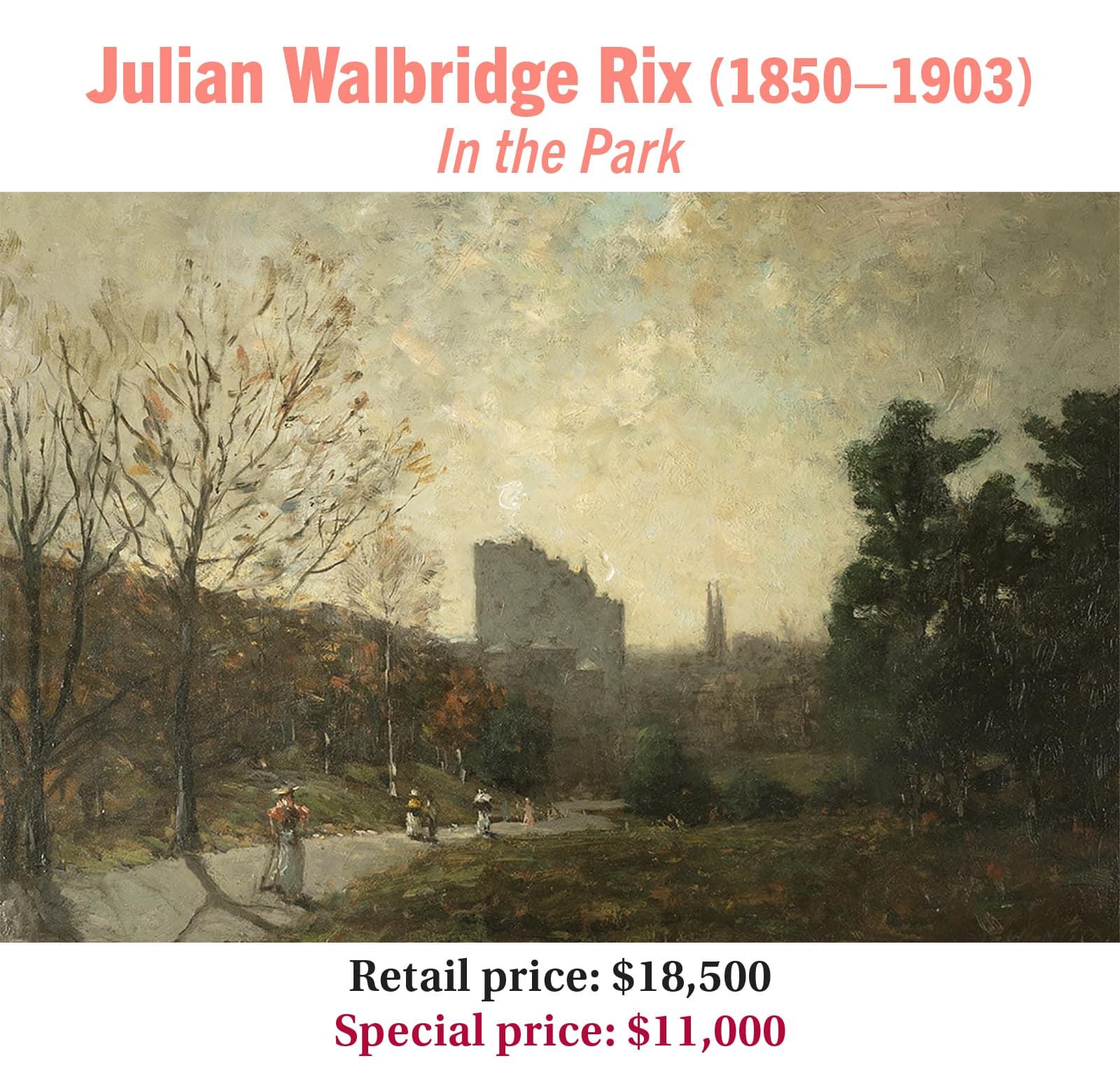 Julian Walbridge Rix (1850–1903), In the Park, oil on panel, American impressionist landscape painting