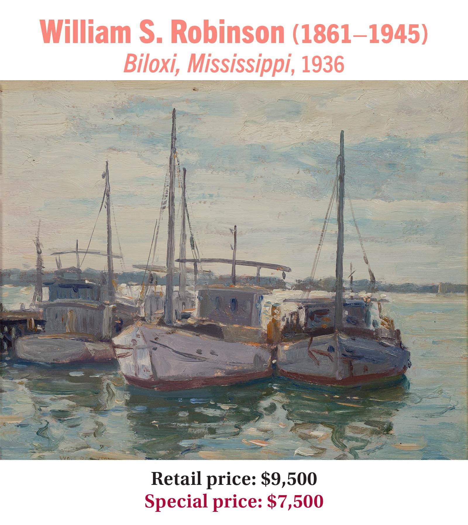 William S. Robinson (1861–1945) Biloxi, Mississippi, 1936, oil on board, American impressionist harbor scene