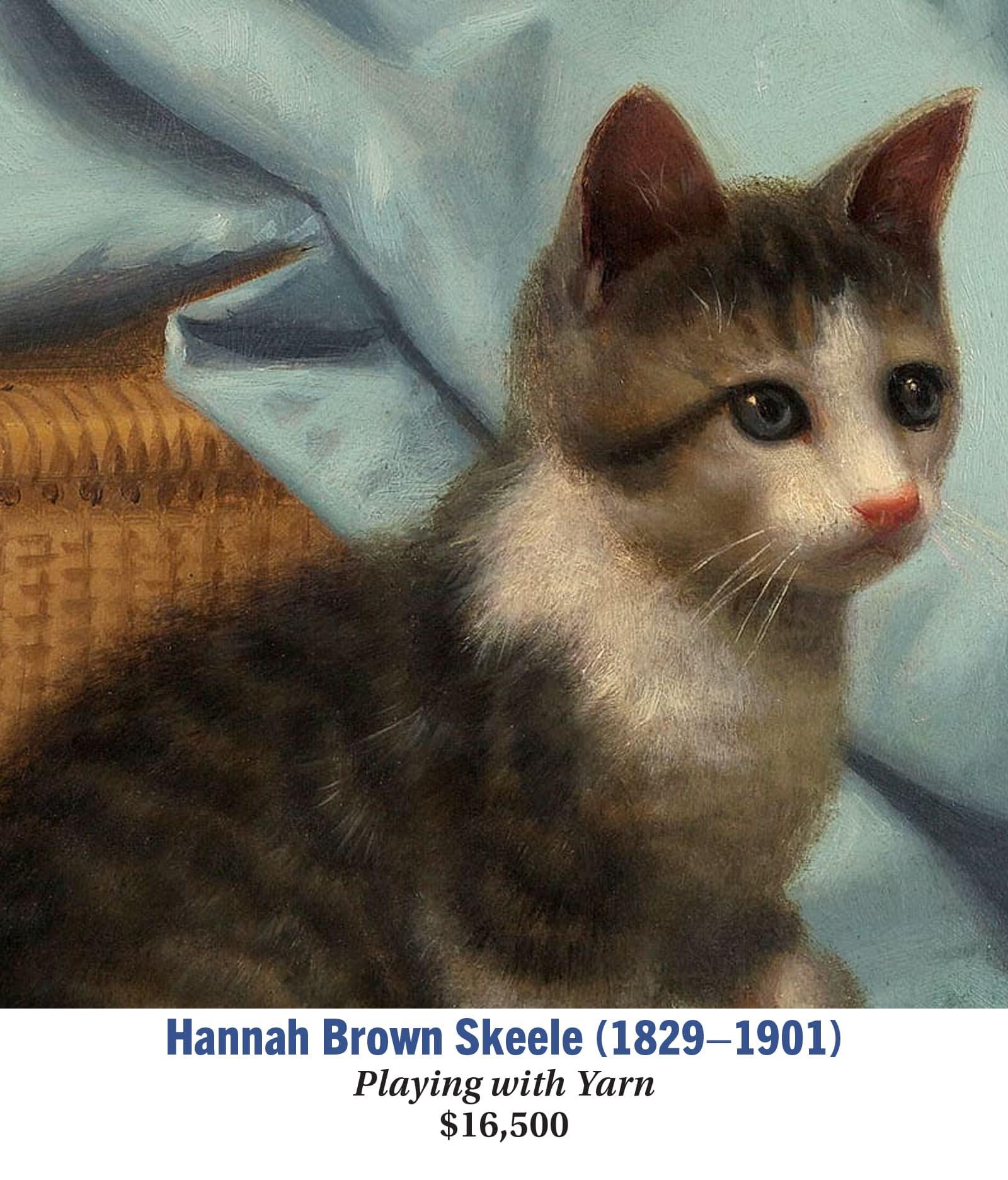 Hannah Brown Skeele (1829–1901), Playing with Yarn, Oil on board, American genre painting, detail image
